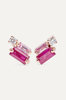 Suzanne Kalan 18-karat Rose Gold, Diamond And Sapphire Earrings