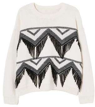 MANGO Recycled cotton fringed sweater