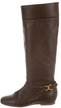 Chloé Pebbled Leather Knee-High Boots