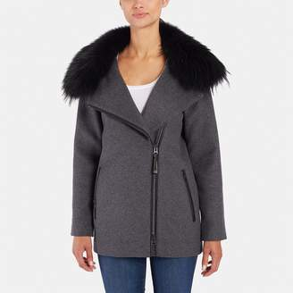 Mackage Min Wool Coat with Fur Collar