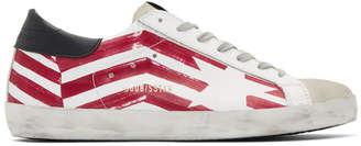 Golden Goose White and Red Flag Superstar Sneakers
