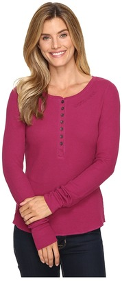 Life is Good Good Vibes Long Sleeve Waffle Henley $48 thestylecure.com