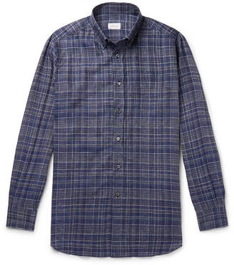 Brioni Button-Down Collar Checked Linen Shirt