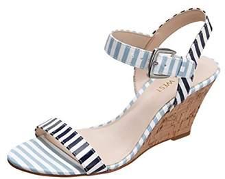 Nine West Women's Kiani Synthetic Wedge Sandal Navy/White/Light Blue
