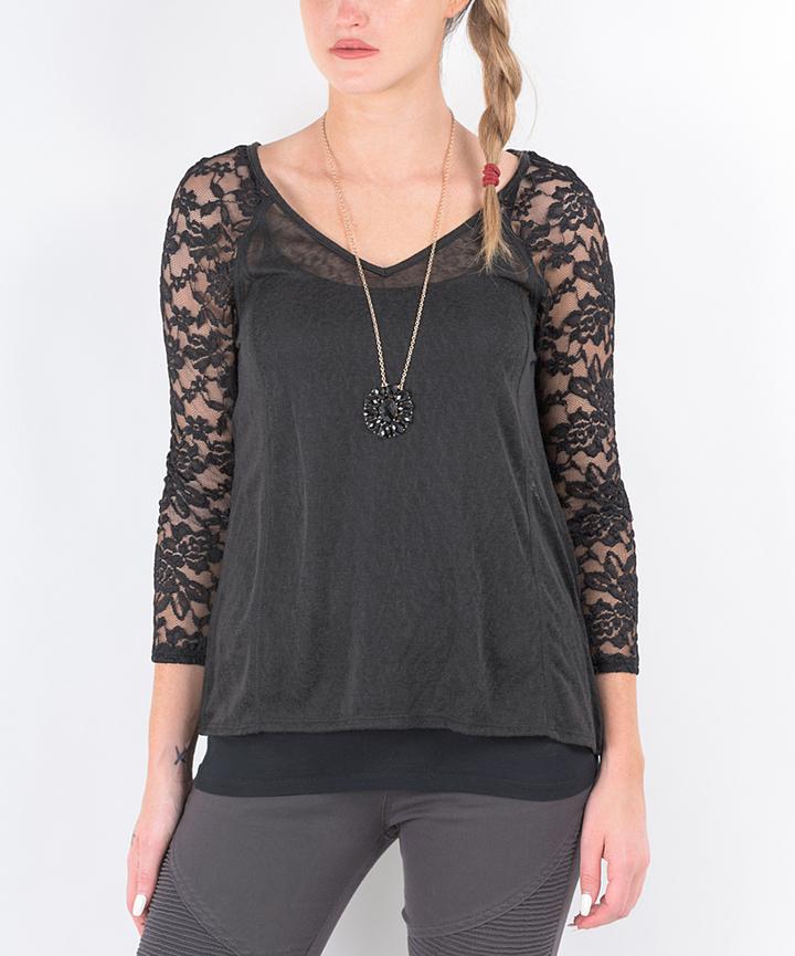 Black Lace-Panel V-Neck Top