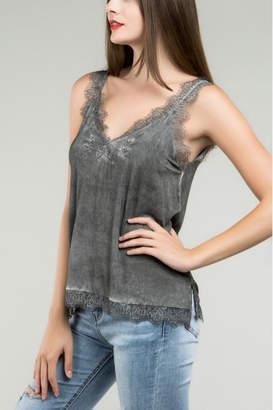 POL Grey Embroidered Tank