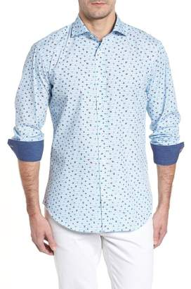 Bugatchi Shaped Fit Zigzag Floral Sport Shirt
