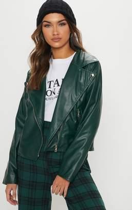 PrettyLittleThing Emerald Green PU Biker Jacket