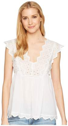 Lucky Brand Eyelet Tank Top Women's Short Sleeve Pullover