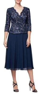 Alex Evenings Petite Tea-Length Embroidered Lace Dress