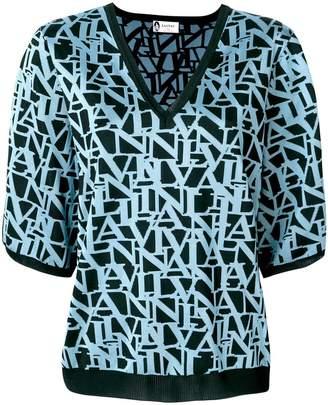 Lanvin logo print V-neck jumper