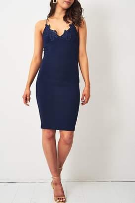 Frontrow Navy Lace-Applique Dress