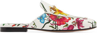 Gucci Princetown Horsebit-detailed Floral-print Canvas Slippers - White