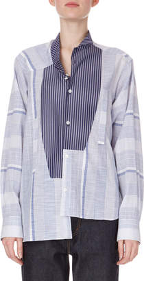 Loewe Long-Sleeve Button-Front Striped Cotton Shirt