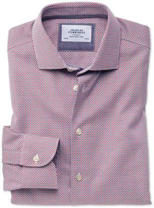 Charles Tyrwhitt Classic Fit Semi-Cutaway Business Casual Non-Iron Modern Textures Red and Blue Cotton Formal Shirt Single Cuff Size 16/34