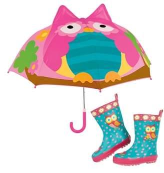 Stephen Joseph Owl Rain Boots & Umbrella Set