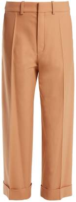 Chloé Wide-leg cropped stretch-wool trousers