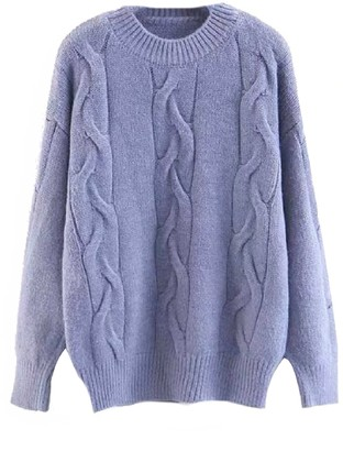 Goodnight Macaroon 'Eloria' Cable Knit Crewneck Sweater (4 Colors)
