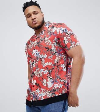 Asos Design DESIGN Plus regular fit floral shirt with velvet tape detail in red