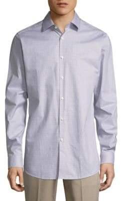 Theory Micro Check Cotton Button-Down Shirt