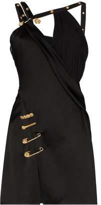 Versace asymmetric pin clip mini dress