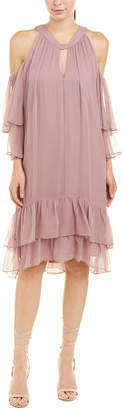 BCBGMAXAZRIA Cold-Shoulder Silk Shift Dress
