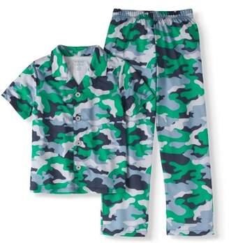 Cherokee Boys' Camo Print Button-Up 2-Piece Pajama Sleep Set (Big Boys & Little Boys)