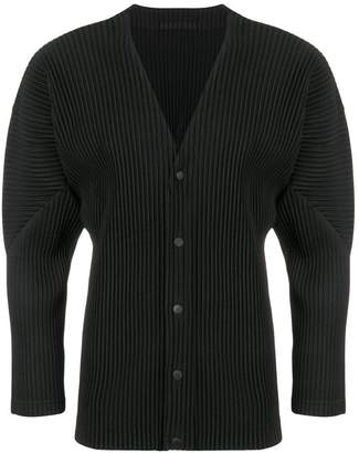Issey Miyake Homme Plissé panelled button up cardigan