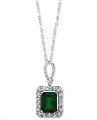"Effy Emerald (2-1/5 ct. t.w.) & Diamond (1/4 ct. t.w.) 18"" Pendant Necklace in 14k White Gold"