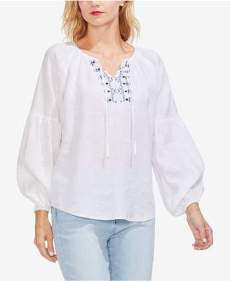 Vince Camuto Linen Embroidered Peasant Blouse