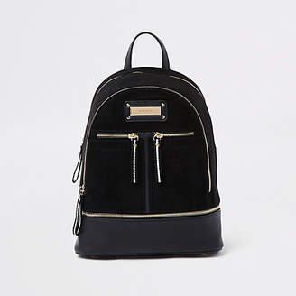 River Island Black zip bottom backpack