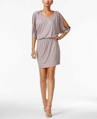 Msk Cold-Shoulder Glitter Blouson Dress $89 thestylecure.com