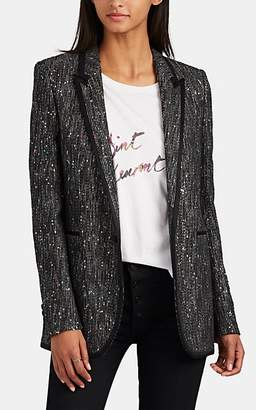 Saint Laurent Women's Sequined Tweed One-Button Blazer - Black