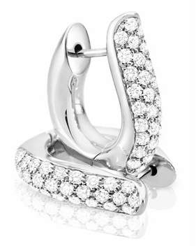 Tamara Comolli Pave Diamond Hoop Earrings in 18K White Gold