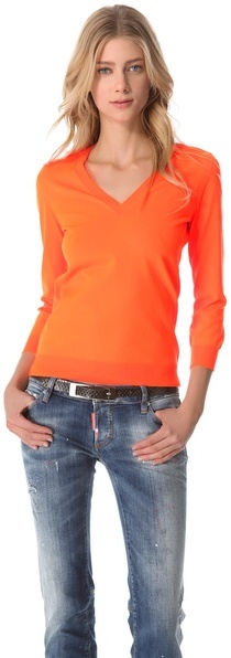 DSquared Dsquared2 Fluorescent V Neck Sweater