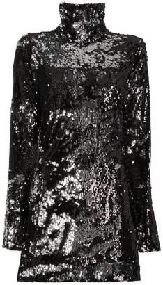 Halpern Longsleeved high neck sequinned mini dress