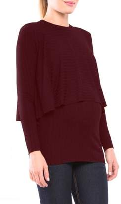 Olian Kim Popver Maternity/Nursing Tunic Top
