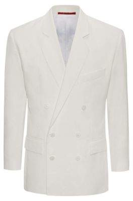 HUGO Boss Linen Double-Breasted Sport Coat, Oversize Fit Ureial FS 38R Natural