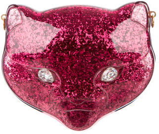 Gucci Glitter Plexiglass Cat Clutch w/ Tags $1,895 thestylecure.com