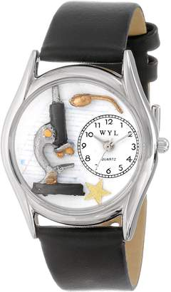 Whimsical Watches Women's S0640013 Science Teacher Black Leather Watch