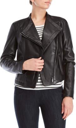 DKNY Faux Leather Peaked Hem Moto Jacket