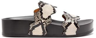 Chloé Lauren Double Strap Leather Flatform Sandals - Womens - Grey Multi
