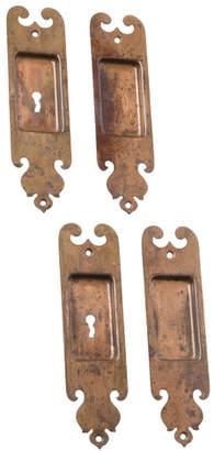 Rejuvenation Set of Romanesque Wrought Brass Pocket Door Pulls