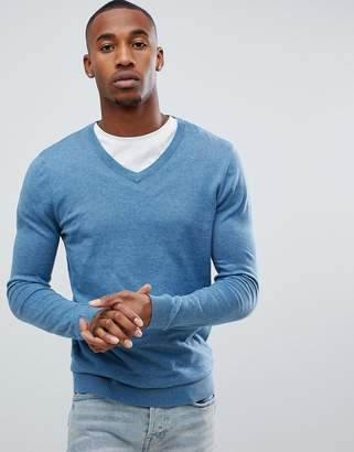 Asos DESIGN Cotton V-Neck Sweater In Sky Blue