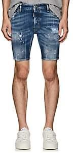 DSQUARED2 Men's Paint Splatter Denim Shorts - Blue Size 44 Eu