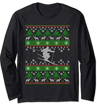 Skiing - Ugly Christmas Sweater Long Sleeve Tee Shirt