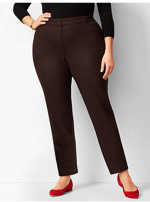 Talbots Plus Size High-Waist Tailored Ankle Pants - Red Dot/Curvy Fit