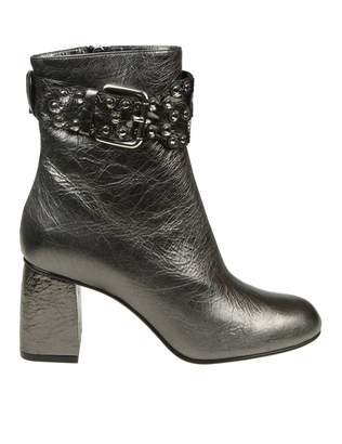 RED Valentino flower Puzzle Boots In Laminated Leather Anthracite Co