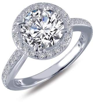 Lafonn Platinum Plated Sterling Silver Simulated Diamond Halo Ring