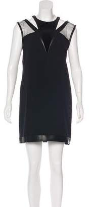 The Kooples Leather-Trimmed Shift Dress w/ Tags